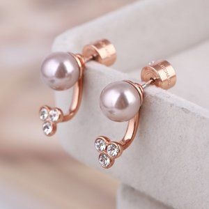 Michael Kors Diamond-Studded Pearl Earrings